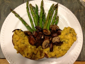 Roasted Koimo Sweet Potato with Simple Dal.  Roasted Mushrooms and Asparagus for extra beauty and deliciousness.